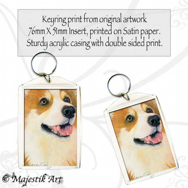 Corgi Keyring LOOKING AT YOU Dog Pet Animal