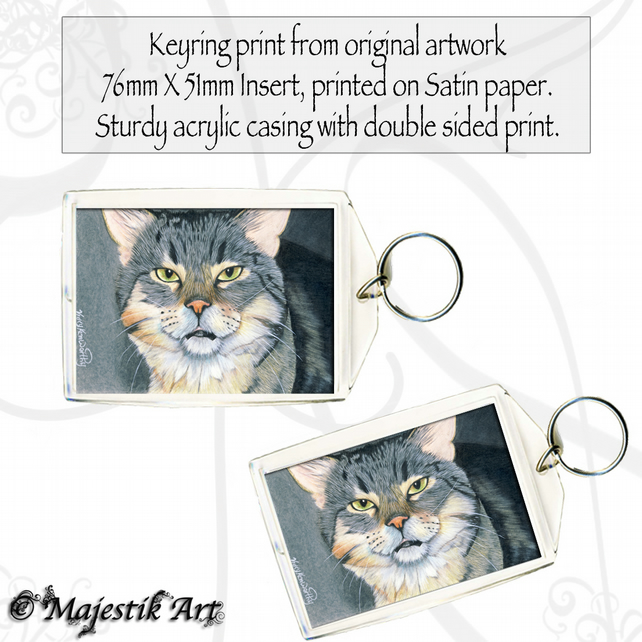 Tabby Cat Keyring PLEASED TO MEET YOU Pet Animal