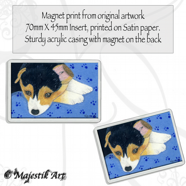 Corgi Magnet MONDAY BLUES Puppy Dog Animal VK