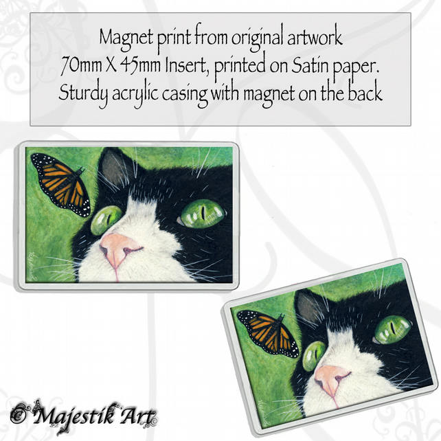 Tuxedo Cat Magnet LOOK Butterfly Animal VK