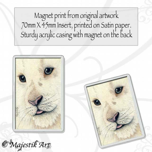 White Lion Magnet PERFECT Cub Animal VK