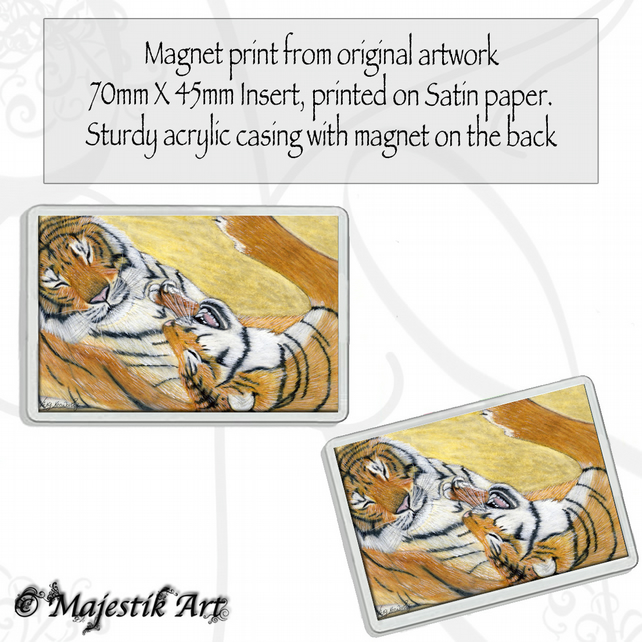 Tigers Magnet PLAY TIME Wildlife Animal VK