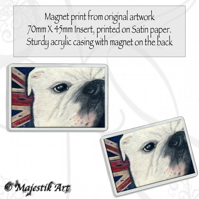 Bulldog Magnet VINTAGE British Union Jack Animal VK