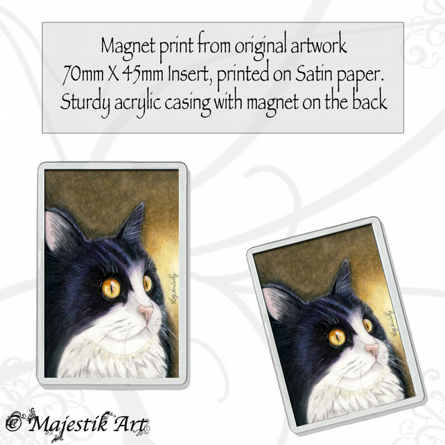 Tuxedo Cat Magnet INTRIGUE Animal Pet Feline VK