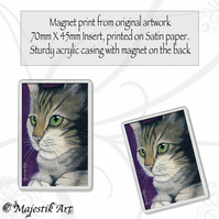 Tabby Cat Magnet GREEN EYES Animal Pet VK