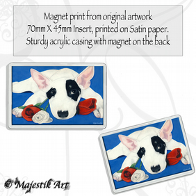 English Bull Terrier Magnet FLOWER Dog Animal VK