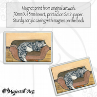 Tabby Cat Magnet CAT NAP Pet Animal VK