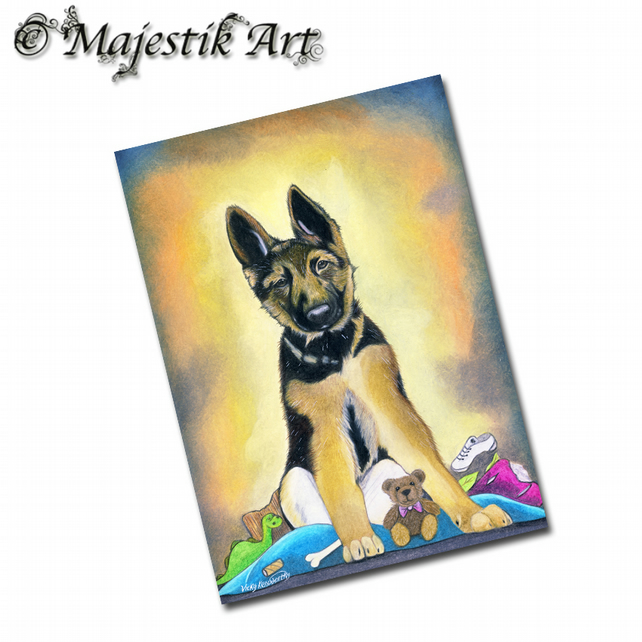 ACEO Print German Shepherd Dog HOARDER
