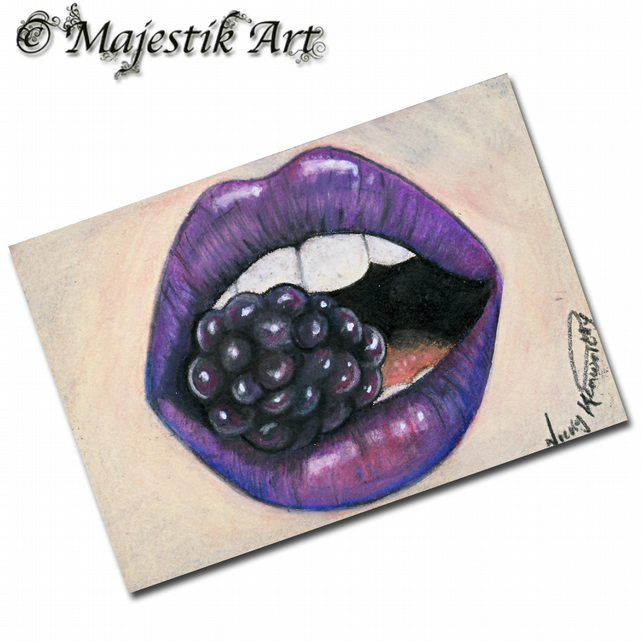 ACEO Print Womens Lips BERRYLICIOUS