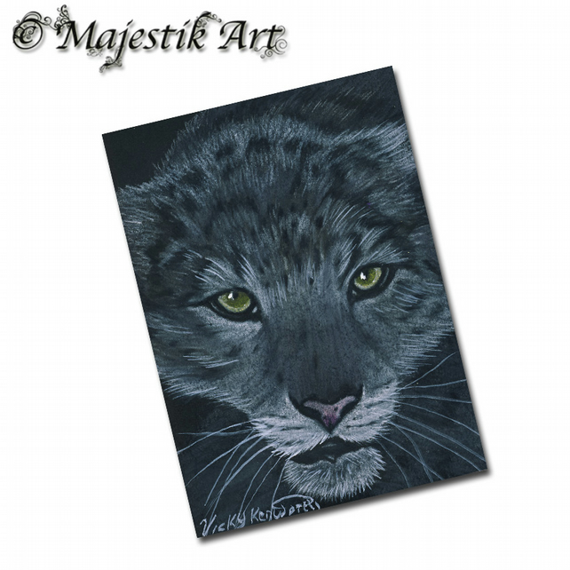 ACEO Print Snow Leopard PROWL
