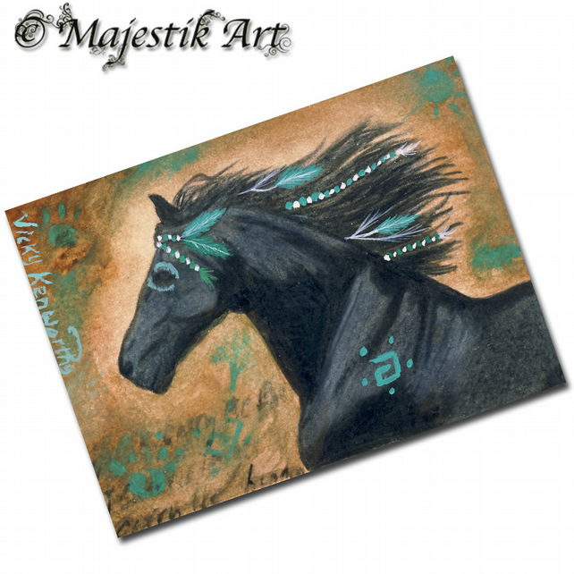 ACEO Print Native American Horse Art SPIRIT STEED