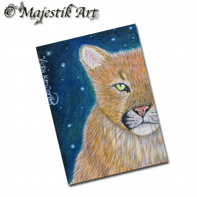 ACEO Print Mountain Lion Big Cat  STAR GAZER