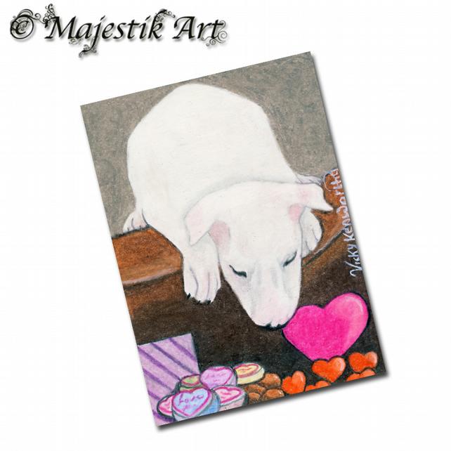 ACEO Print Bull Terrier Dog SWEETS