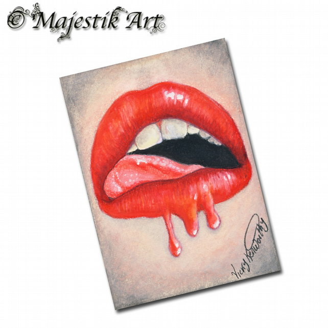 ACEO Print Womens Lips LIPLICIOUS