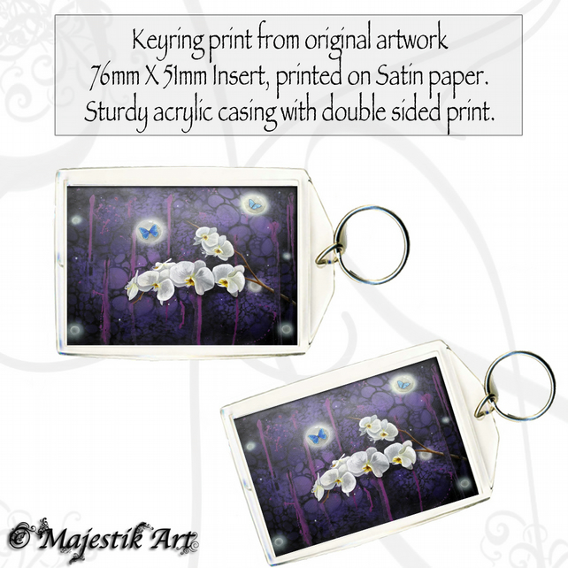 Flower Keyring ORCHIDS Fantasy Art