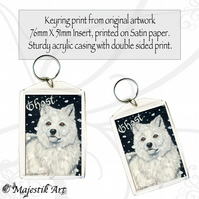 White Wolf Keyring GHOST Animal