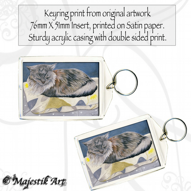 Cat Keyring SLEEP IN Maine Coon