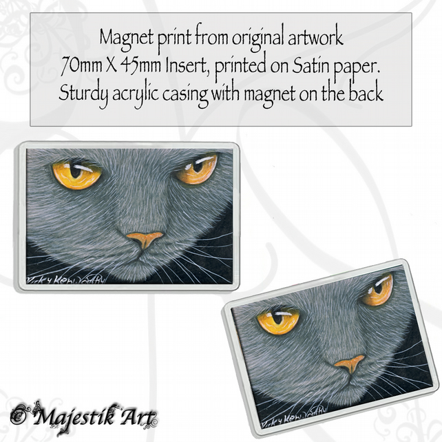 Grey Cat Magnet LIQUID GOLD Animal VK
