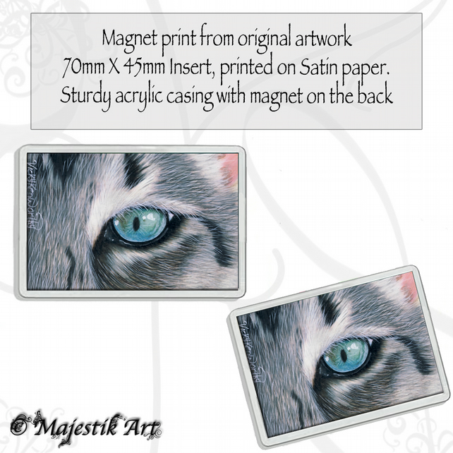 Grey Cat Magnet MALACHITE Animal VK
