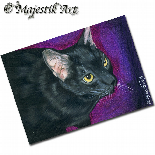 ACEO Print Black Cat  ATTENTION SEEKER