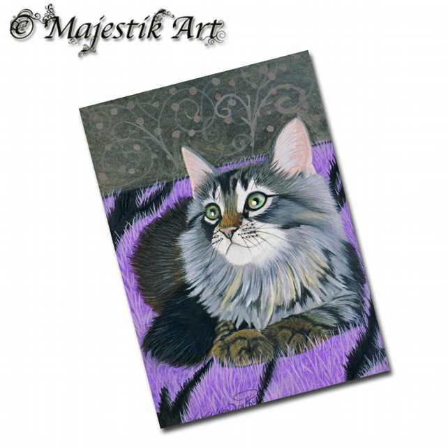 ACEO Print Maine Coon TOO COSY