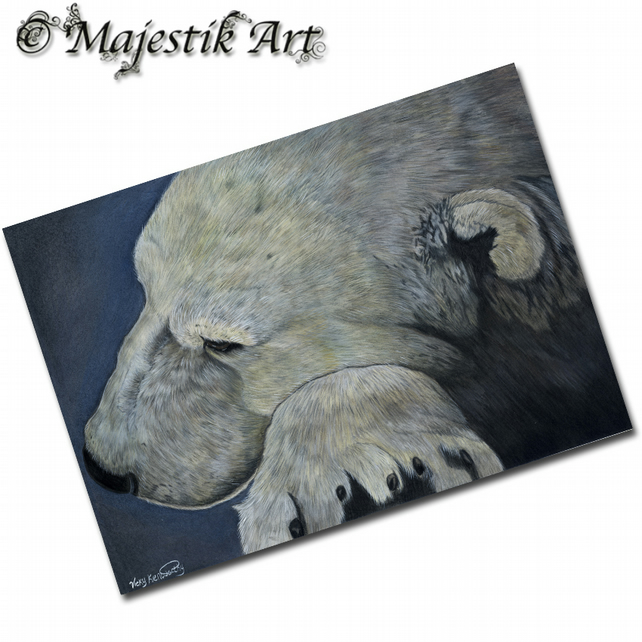 ACEO Print Polar Bear SOMBERNESS