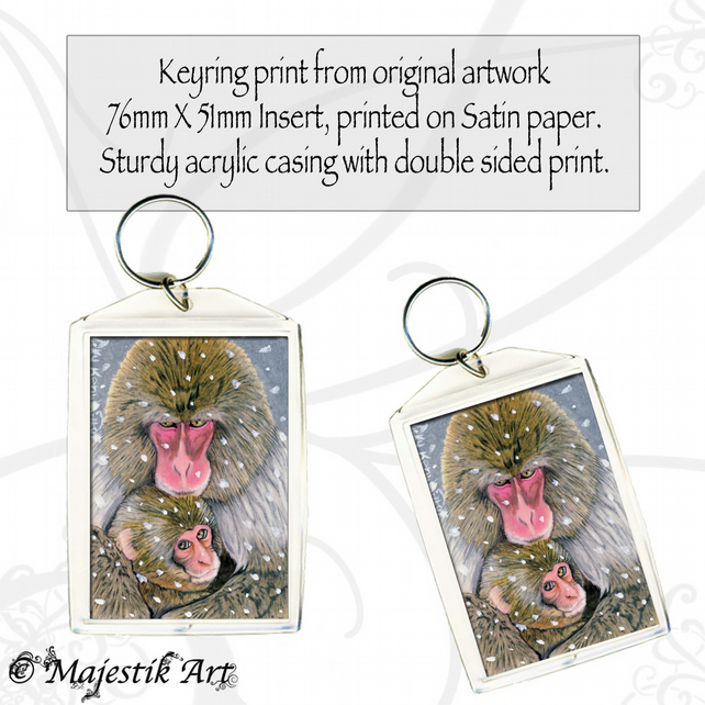 Barbary Macaque Keyring A MOTHER'S LOVE Animal Wildlife