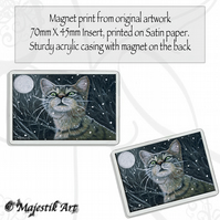Tabby Cat Magnet SNOW CAT Snow VK