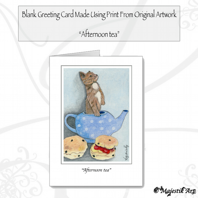 Greeting Card AFTERNOON TEA Chihuahua