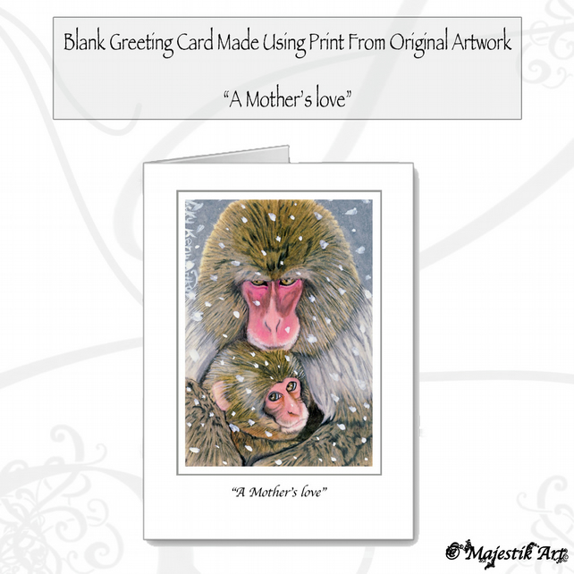 Greeting Card A MOTHERS LOVE Barbary Macaque