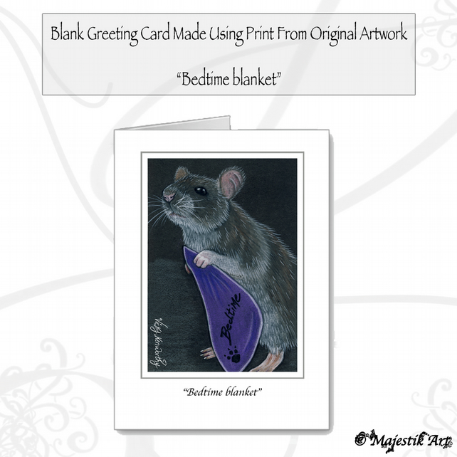 Greeting Card BEDTIME BLANKET Rodent