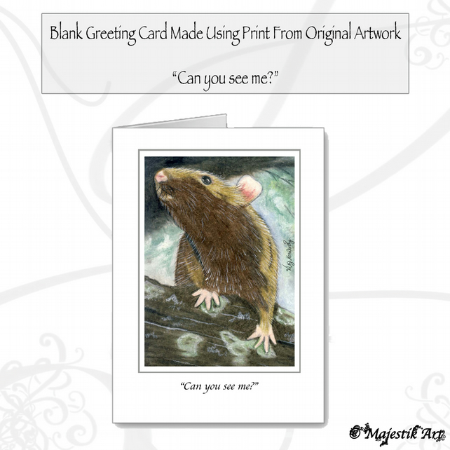 Greeting Card CAN YOU SEE ME? Rat