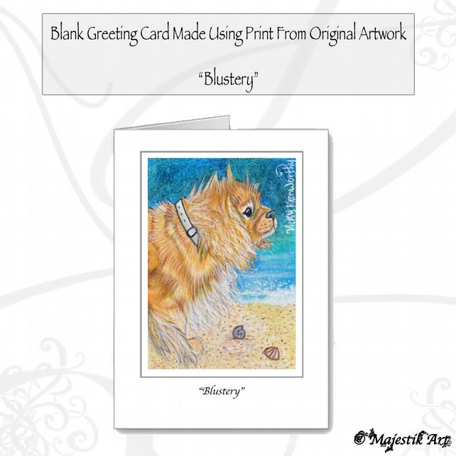 Greeting Card BLUSTERY Dog