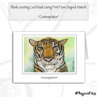 Greeting Card CONTEMPLATION Tiger