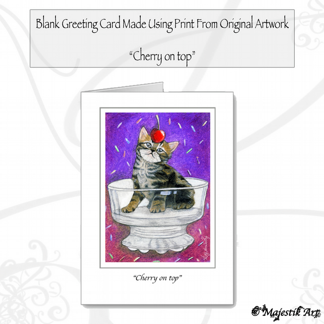 Greeting Card CHERRY ON TOP Tabby Cat