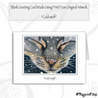 Greeting Card COLD STUFF Tabby Cat