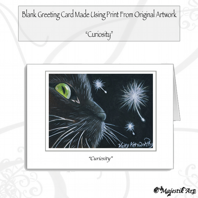 Greeting Card CURIOSITY Cat