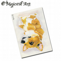 ACEO Print Corgi Snow Dog