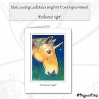 Greeting Card ENCHANTED NIGHT Unicorn