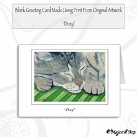 Greeting Card DOZY Tabby Cat