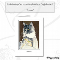 Greeting Card FOREVER Cat