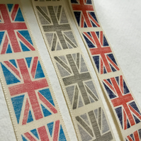 Union Jack  Ribbon, navy and red