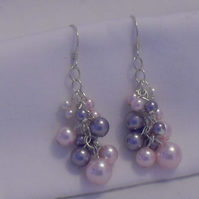 Dainty pearl grape earrings - pink, mauve and white pearls
