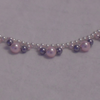 Dainty Pearl Necklace - White, Pink and Mauve Pearls
