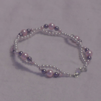 Dainty Pearl Bracelet - Pink, Mauve and White Pearls