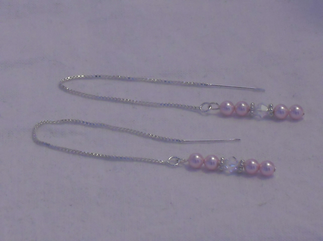 Pink pearl and crystal thread earrings