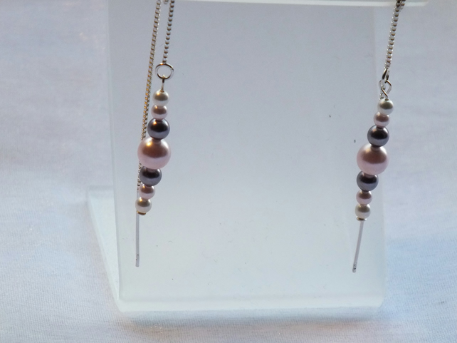 Dainty pearl thread earrings - pink, mauve and white pearls