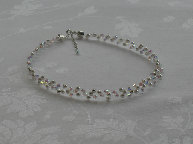 White Pearl and Crystal choker