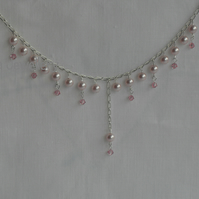 Pink Pearl and Sterling Silver Necklace