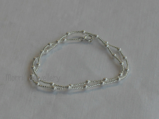 Silver seed bead and white pearl, wrap bracelet